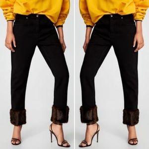 NWT Zara Black High Waisted Pants Black Fur Hem 2